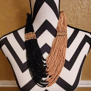 Jewelry - Matching Beaded and Wood Necklace and Earring Set